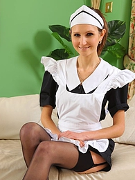 see this cheeky maid tease her way out of her uniform pictures at lingerie-mania.com