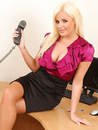 Beautiful blonde Amy Green in saucy secretary strip pictures at lingerie-mania.com
