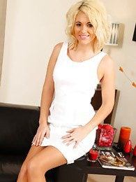 Emma Lou in white dress and suspenders pictures at lingerie-mania.com