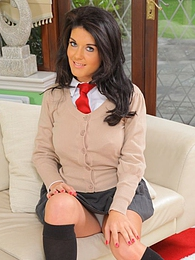 Kelly M looks amazing in her cute college uniform pictures at lingerie-mania.com