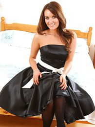 Curvy Zoe strips from black evening gown pictures at sgirls.net