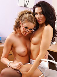 Leah and Jessica tease each other out of their secretary outfits pictures at kilosex.com