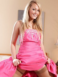 Pretty blonde looks amazing in her bright pink floor length prom dress and tan stockings pictures