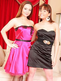 Carla and Lily S look sexy and sophisticated in their evening dresses and heels pictures at lingerie-mania.com