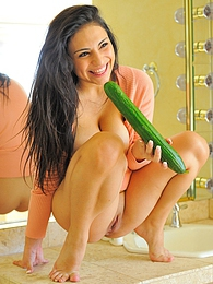 Rikki takes on a monster cucumber pictures at find-best-pussy.com