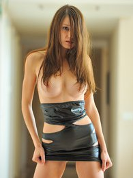 Anessa in a tight leather dress and no panties pictures at kilomatures.com