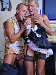 Smoking hot older French maid gets creamed jugs after a raw cock servicing pictures
