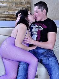 Spectacled mommy fucked by a boy right thru her purple fishnet bodystocking pictures