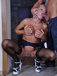 Dressy mature lady swallows some fresh meat and gets slammed from behind pictures at adspics.com