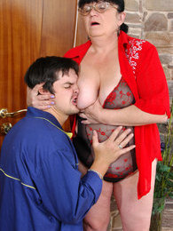 Lascivious mature fatty lures a worker giving blowjob and opening her box pictures at lingerie-mania.com