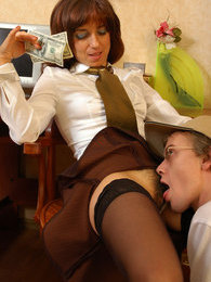 Naughty mature secretary craving for extra money while seducing horny guy pictures