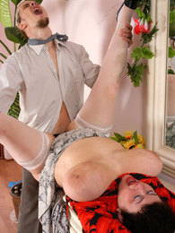 Mature fatty with big jugs giving tit fuck getting crammed by a hung lad pictures
