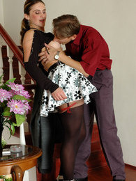 Dressed to kill milf seducing a lad into sizzling hot quickie by the stairs pictures at lingerie-mania.com