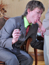 Gay guy getting a cig and a dick to smoke from his horny straight co-worker pictures at kilomatures.com