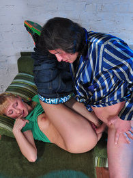 Naughty blondie bares her goodies and goes for a score with an older dude pictures