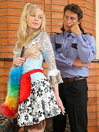 Older policeman inspecting a young pussy with his ready for action boner pictures at find-best-panties.com