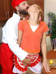 Stunning girlie cannot cook while getting probed and poked by an older male pictures at adspics.com