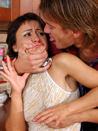 Tattooed broad getting licked and boned by a drunk older guy in the kitchen pictures at freekilosex.com