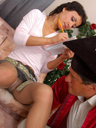 Upskirt coed making out with her old lecturer getting A-marks and loose box pictures at adspics.com