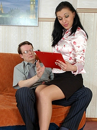 Office babe paying for her curiosity pressing bellies with older co-worker pictures at sgirls.net