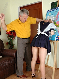 Ponytailed coed spanked and fucked by her old teacher for her poor progress pictures at adspics.com