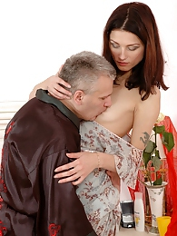 Slim girl opening her box for the graying man enjoying his tongue and boner pictures at find-best-panties.com