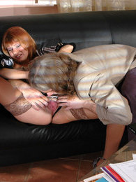 Leggy secretary forced to give head and bend over for her lusty aging boss pictures at adspics.com