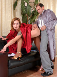 Sexy coed baring her goodies and spreading tasty pussy for an old professor pictures at adspics.com
