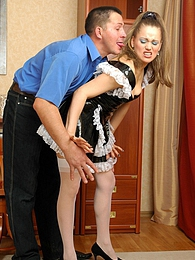 Young sexy French maid forced to suck off and open up for her aging master pictures