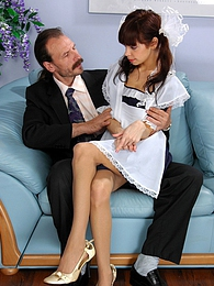 Horny aged master getting into the panties of his younger busty French maid pictures