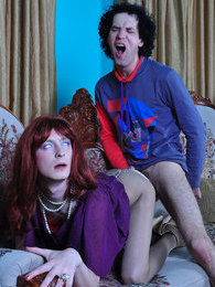 Red-haired sissy guy gives head and gets his eager ass plowed thru tights pictures at freekilomovies.com