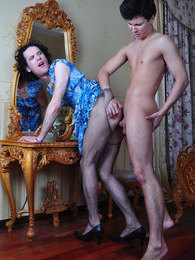 Nasty sissy wears a pretty dress and pantyhose for oral-anal fun with a boy pictures at kilopics.com
