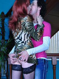 Hot sissy in the animal print tunic smokes a cig and cock before gay anal pictures at lingerie-mania.com