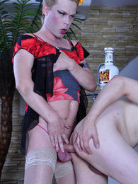 Smoking hot sissy plays the top fucking the mouth and ass of his gay lover pictures