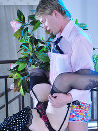 Looking like a girl sissy parts his legs in nylons and heels for a gay guy pictures