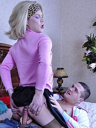 Blond crossdresser gets his red thong pushed aside for gay anal screwing pictures at freelingerie.us