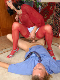 Kinky sissy guy in a red blouse and matching stockings riding a meaty pole pictures at lingerie-mania.com