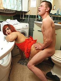 Hot sissy guy deepthroating and getting his ass jackhammered in bathroom pictures at find-best-panties.com