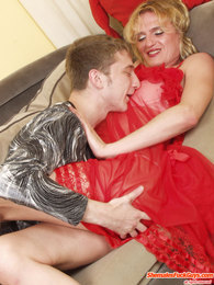 Kinky sissy guy in sexy red baby-doll getting his ass plowed deep and hard pictures at lingerie-mania.com