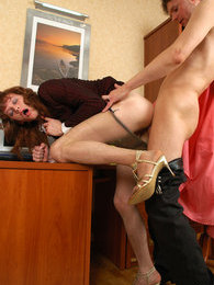 Hot sissy guy luring his co-worker into ass-pounding fucking in the office pictures