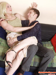 Steamy blond sissy guy getting kicks from gay ass-fucking right on the sofa pictures at kilopics.net