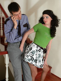 Freaky sissy guy seducing hung policeman into anal amusement on the stairs pictures at lingerie-mania.com