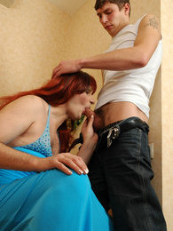 Redhead sissy guy willingly blowing throbbing cock up to a load of hot cum pictures