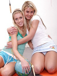 Two hot young blondes hanging out together and having sex pictures at lingerie-mania.com