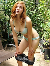 Sexy coed Juliana Johnson spreads pussy outdoors pictures at kilopics.com