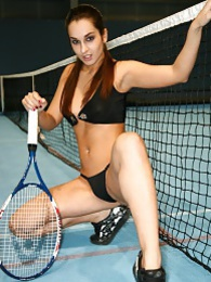 Sexy Italian teen gets naughty with tennis balls pictures at lingerie-mania.com
