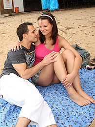 A very prety teenage cutie drilled hardcore on the beach pictures at adspics.com