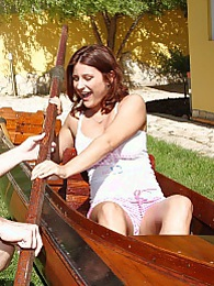 horny guy fucking a pretty teenager in large boat hardcore pictures at adipics.com
