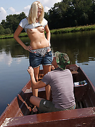 Willing innocent teenager fucked on a boat by a horny guy pictures