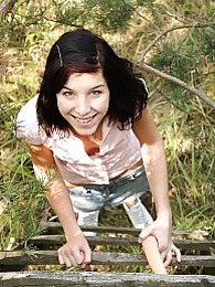 A ladder climbing teenage girl pets her slippery snatch pictures at sgirls.net